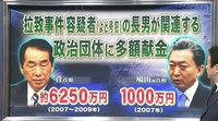 拉致事件容疑者の長男が関連する政治団体に、菅首相と鳩山前首相が多額献金