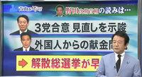 野田佳彦の読みは…海江田万里3党合意の見直しを示唆、前原誠司外国人からの献金問題で、解散総選挙が早まる