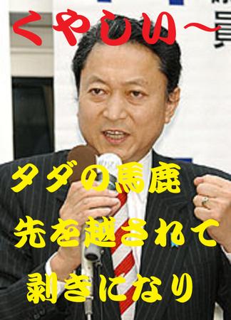 鳩山由紀夫:タダの馬鹿 先を越されて ムキになり「くやしい〜」